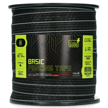 ZoneGuard Basic fencing tape 40 mm black 200 m