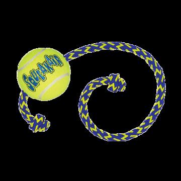 Kong Air Squeaker Tennis Ball  M 6 cm with rope 52 cm