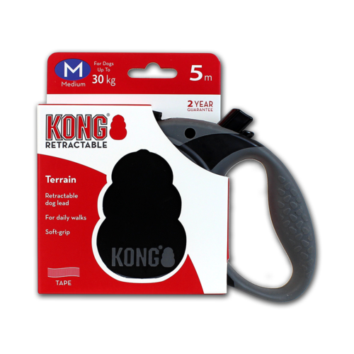 Kong Retractable Leash Terrain Black M (5m/30kg)