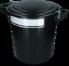 Storage bucket 40 l black, lid, lock and writing label