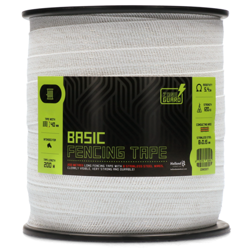 ZoneGuard 40 mm Basic fencing tape white 200 m
